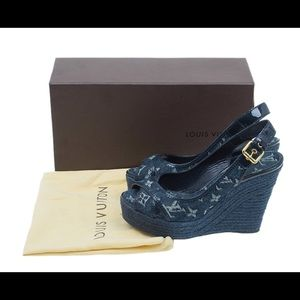 b7c15c8c335e9 Louis Vuitton. LOUIS VUITTON WEDGE SANDALS Denim Monogram. $895 $1,295